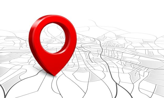 Navigationskarte, position der straße 3d stiftlokalisierer, stiftzeigernavigatorkarten und standortmarkierung