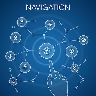 Navigationskonzept, blauer hintergrund. lage, karte, gps, richtungssymbole