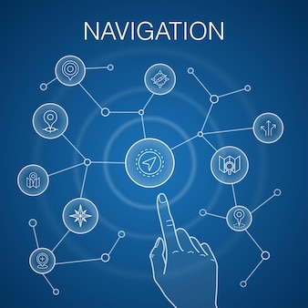 Navigationskonzept, blauer hintergrund. standort, karte, gps, richtungssymbole