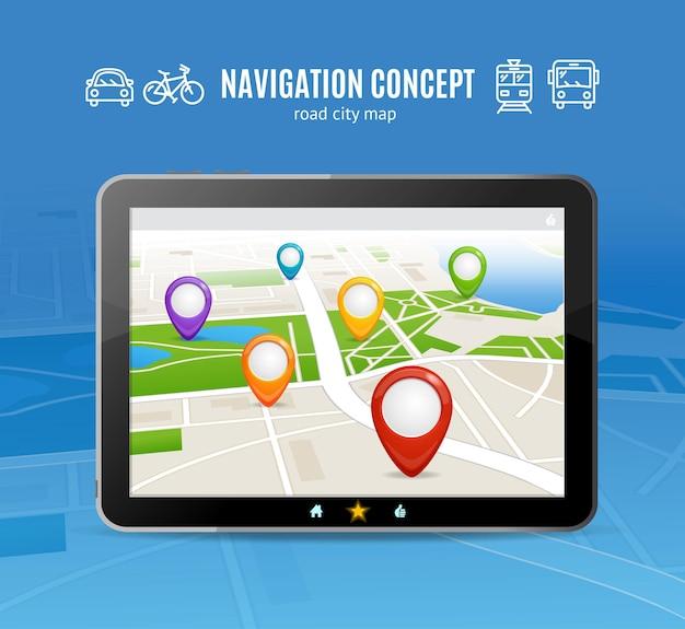 Navigationskonzept. transport auf karte für reisen.