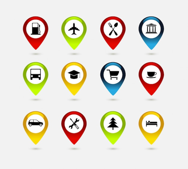 Navigationssatz mit symbolen. reisesymbole.
