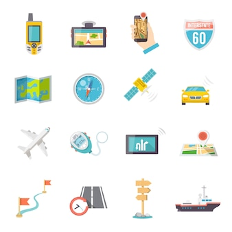 Navigationssymbole flach