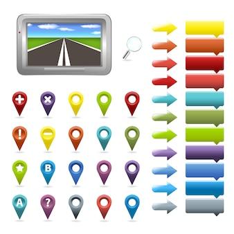 Navigator- und kartensymbole, auf weißem hintergrund, illustration