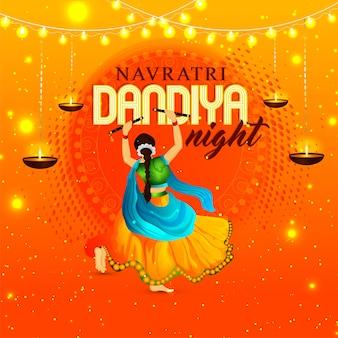 Navratri dandiya tanznacht pose mit hintergrund