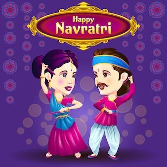 Navratri grüße mit dandiya tänzern