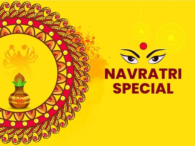 Navratri special poster design mit göttin durga maa, anbetungstopf (kalash) auf gelbem mandala-muster-hintergrund.