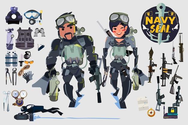 Navy seal soldat tauchgerät mit waffen- und werkzeugsatz - vektorillustration