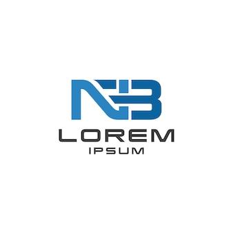 Nb letter logo design fett gedruckt