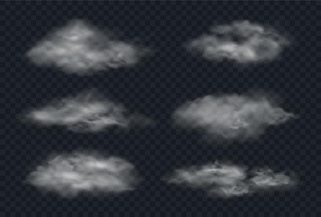 Nebel oder rauch lokalisiert auf transparentem hintergrund