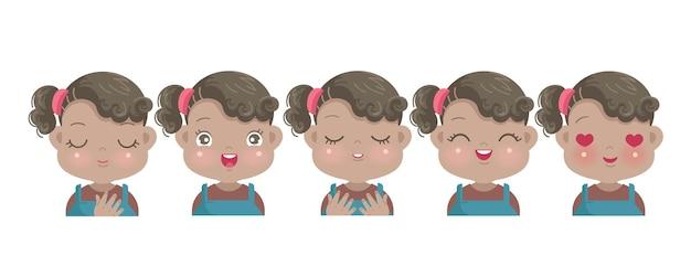 Negative emotionen aus dem gesicht des afrikanischen kleinen mädchens. kind, das stolz, glück, empathie, hoffnung, glauben, freude und liebe ausdrückt