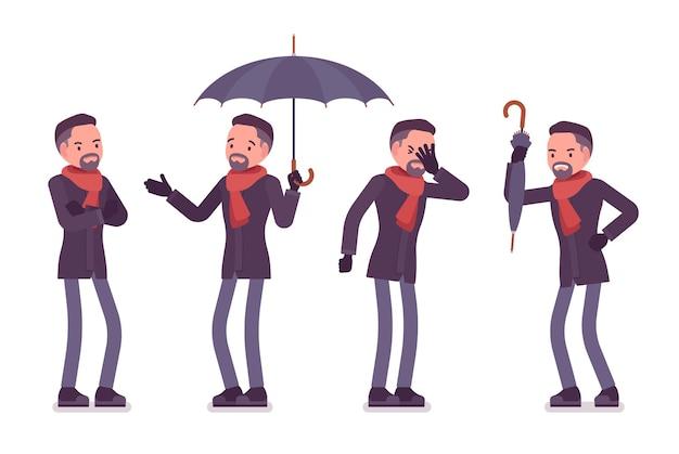 Negative emotionen des stilvollen mannes mittleren alters, die herbstkleidungsillustration tragen