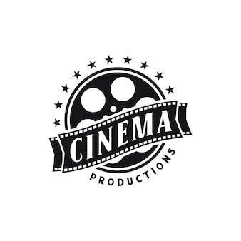 Negative filmrollenstreifen, filmstreifen-rollbänder, logo-design für das filmstudio-videostudio