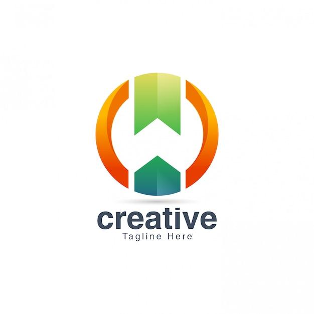 Negativer raum-buchstabe w logo design vector template