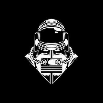 Negativer raum des astronauten isoliert auf schwarz
