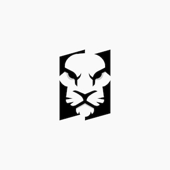 Negativer raum des tigerlogodesigns. tiger logo design vorlage.