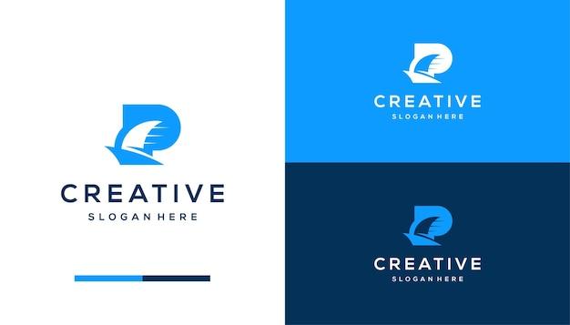 Negativer raumbuchstabe p mit boot, schiffslogo-designvorlage logo
