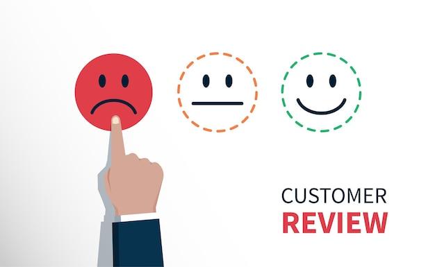 Negatives bewertungs- oder feedbackkonzept, hand des kunden wählte trauriges gesichtssymbol, kundenservicebewertung