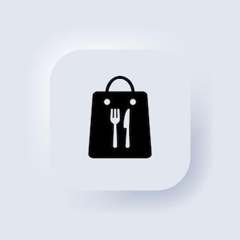 Nehmen sie das symbol für die essenstüte mit. tägliche mahlzeit. mittagstisch zum mitnehmen. neumorphic ui ux weiße benutzeroberfläche web-schaltfläche. neumorphismus. vektor-eps 10.
