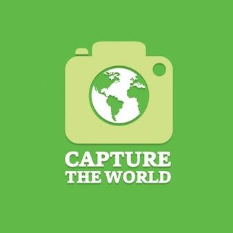 Nehmen sie die welt fotografie-logo