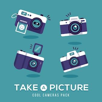 Nehmen sie ein bild mit vintage-kamera