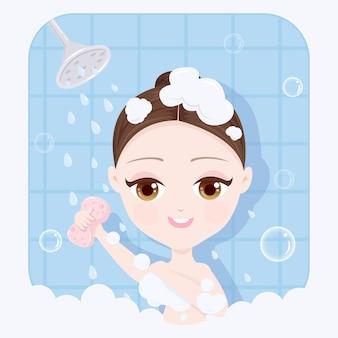 Nehmen sie ein duschmädchen