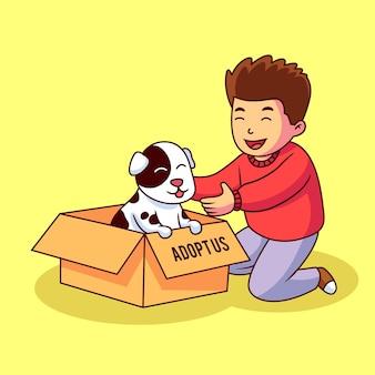 Nehmen sie ein haustierkonzept mit hund im kasten an