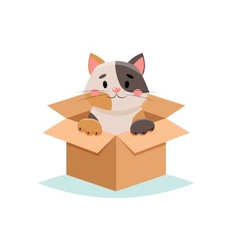 Nehmen sie eine niedliche katze des haustieres in einer box auf weißem hintergrund an