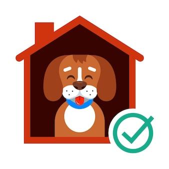 Nehmen sie einen hund aus dem tierheim mit nach hause. glücklicher hund in der kabine. flache vektorillustration.