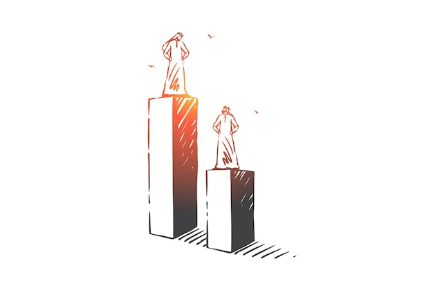 Neid, ungleichheit, führungskonzept skizzieren illustration