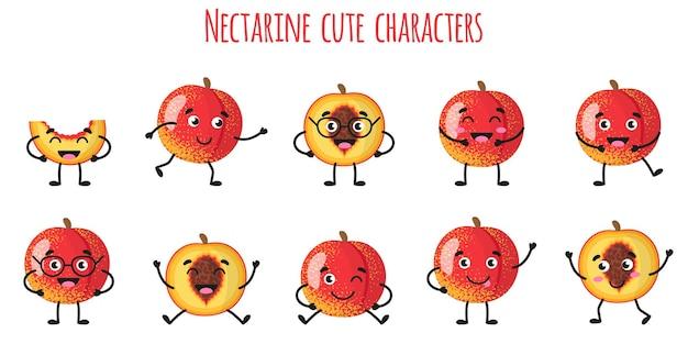 Nektarinenfrucht süße lustige fröhliche charaktere mit verschiedenen posen und emotionen