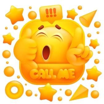 Nennen sie mich aufkleber. gelbes emoji-zeichen, das telefonzeichen macht.