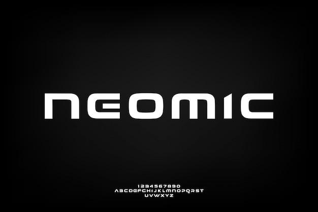 Neomic, eine abstrakte futuristische alphabetschrift mit technologiethema. modernes minimalistisches typografie-design