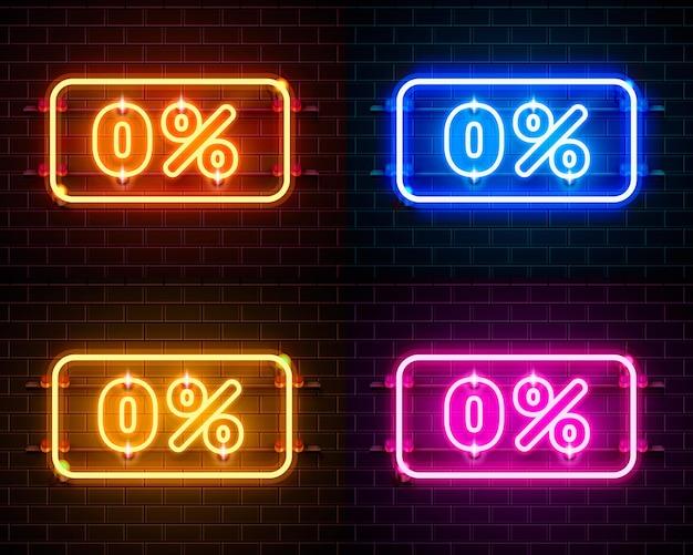 Neon 0 aus textbanner-farbsatz. nachtzeichen. vektor-illustration