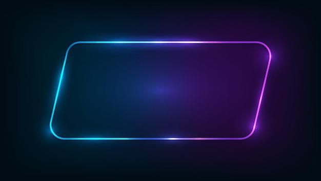 Neon abgerundeter parallelogrammrahmen mit glänzenden effekten auf dunklem hintergrund. leere leuchtende techno-kulisse. vektor-illustration.