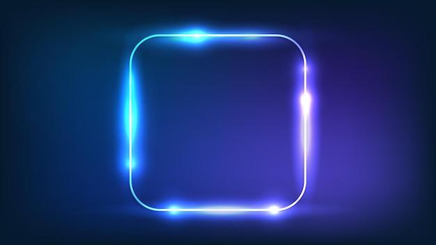 Neon abgerundeter quadratischer rahmen mit glänzenden effekten auf dunklem hintergrund. leere leuchtende techno-kulisse. vektor-illustration.