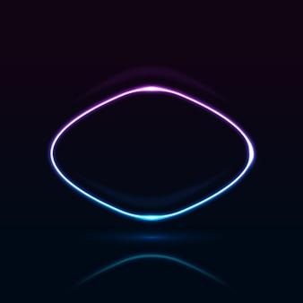 Neon abgerundeter rechteckiger rahmen mit leuchtenden effekten auf dunklem hintergrund