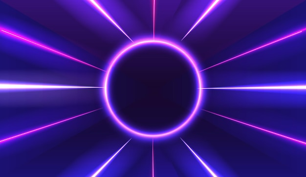 Neon abstrakter runder leuchtender rahmen vintage elektrisches symbol designelement für ihr werbeschild poster