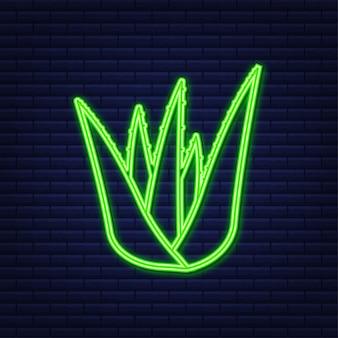 Neon-aloe-vera-pflanze. verpackungsetikett für natürliches bio-produkt. vektorgrafik auf lager.