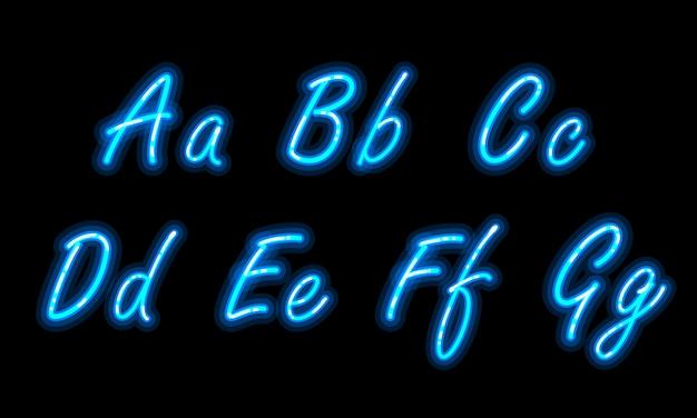 Neon-alphabet-schrift in blau