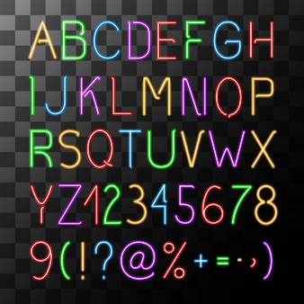 Neon-alphabet-set