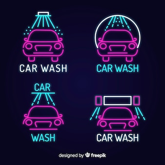 Neon autowäsche zeichen pack