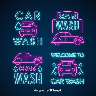 Neon-autowaschschilder-pack