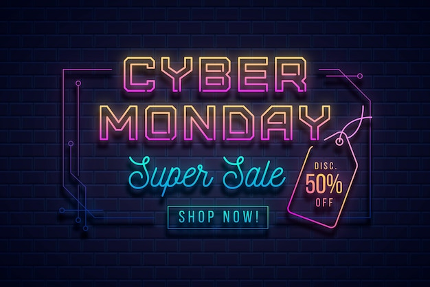 Neon banner cyber montag