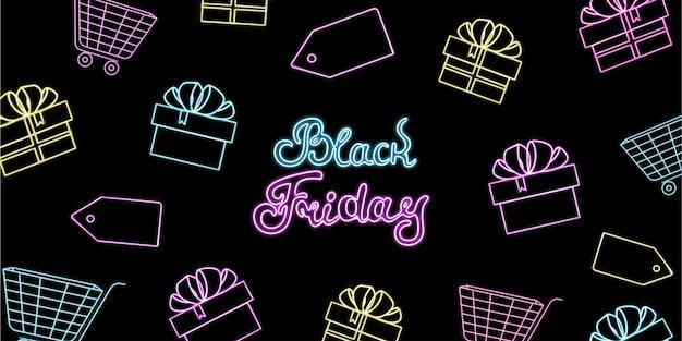 Neon-banner zum black friday-verkauf mit geschenkboxen und einkaufswagen.