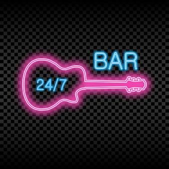 Neon-bar-schild mit gitarre. glühendes und leuchtendes helles schild der geöffneten bar. vektor-illustration.