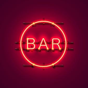 Neon-bar-schild stadtfarbe rot. vektor-illustration