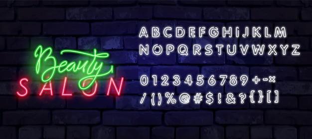 Neon beauty salon zeichen vektor design-vorlage.