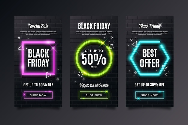 Neon black friday instagram geschichten