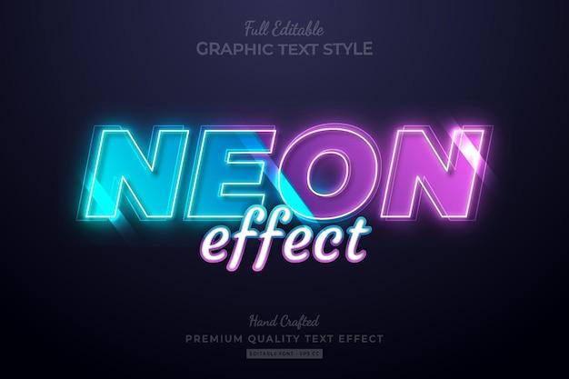 Neon blue purple editierbarer premium-texteffekt-schriftstil