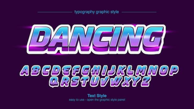 Neon blue purple italic bold text effekt